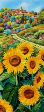Hilltop village and sunflowers garden Oil Paintings