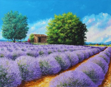Lavender lines garden Oil Paintings