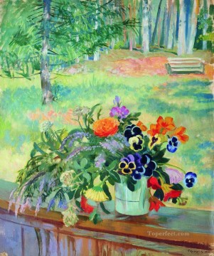 a bouquet of flowers on the balcony 1924 Boris Mikhailovich Kustodiev garden landscape Oil Paintings