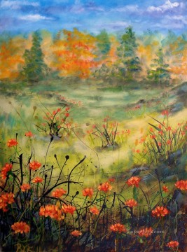orange flowers garden Oil Paintings
