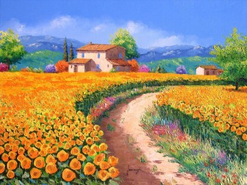 PLS17 beautiful landscape garden Oil Paintings