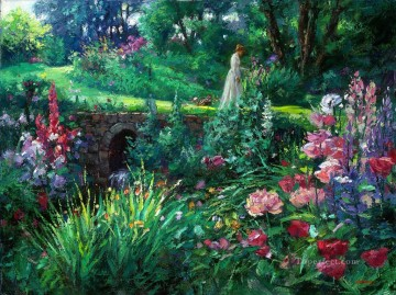 A Walk in The Garden Oil Paintings