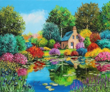 Flowered pond garden Oil Paintings