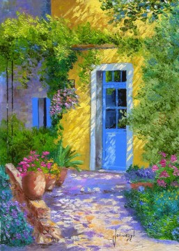 The blue door PROVENCE garden Oil Paintings