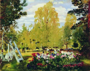 landscape with a flowerbed 1917 Boris Mikhailovich Kustodiev garden landscape Oil Paintings