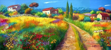 triptyque paysage provencal garden Oil Paintings