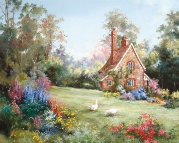 PLS13 beautiful landscape garden Oil Paintings