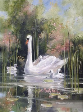 PLS47 impressionism goose pond garden Oil Paintings