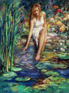 Cool Water girl in garden Oil Paintings