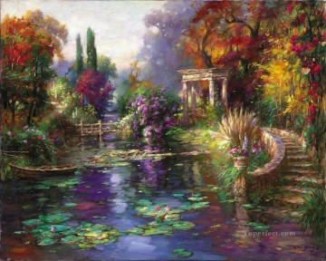 Garden Pond landscape flowers Oil Paintings