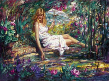 Spring Beauty girl in garden Oil Paintings