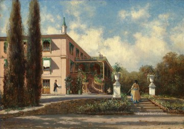 VIEW OF THE GRAND PALACE LIVADIA Alexey Bogolyubov garden Oil Paintings