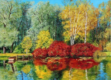 autumn pond garden Oil Paintings