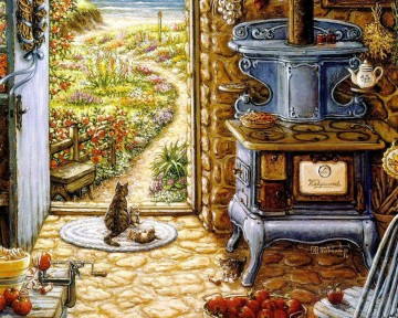 blue stove garden Oil Paintings