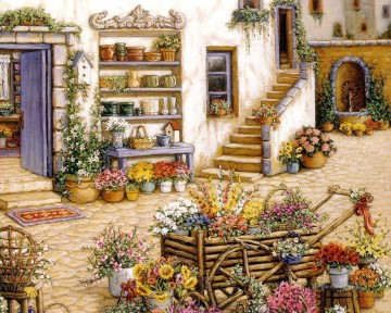 court yard flowershop garden Oil Paintings