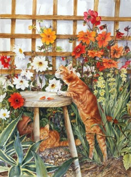 yxf043bE cat BT garden Oil Paintings