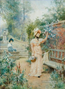 women Painting - Sweet the Rose Alfred Glendening JR girls women garden
