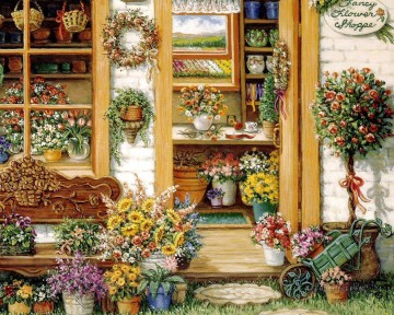 fancy flower shop garden Oil Paintings