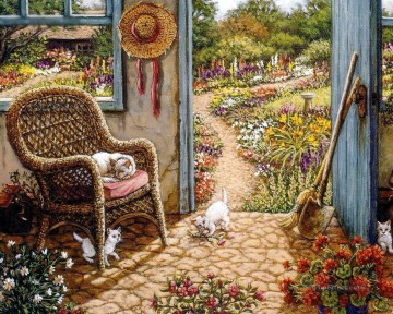 potting shed garden Oil Paintings