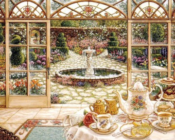tea in the sunroom garden Oil Paintings