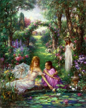 lake pond Painting - Water Lily Pond girls in garden