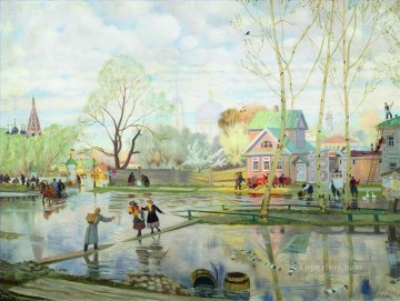 Artworks in 150 Subjects Painting - spring 1921 Boris Mikhailovich Kustodiev garden landscape