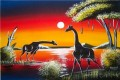 giraffes under moon Landscape