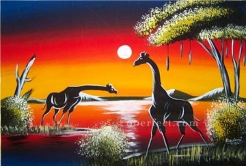 Lake Pond Waterfall Painting -  giraffes under moon Landscape