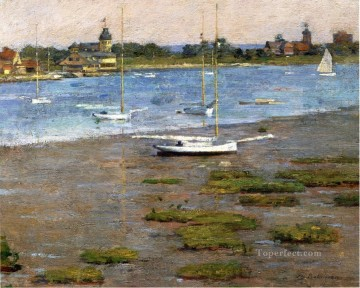 The Anchorage Cos Cob impressionism boat Theodore Robinson Landscape Oil Paintings