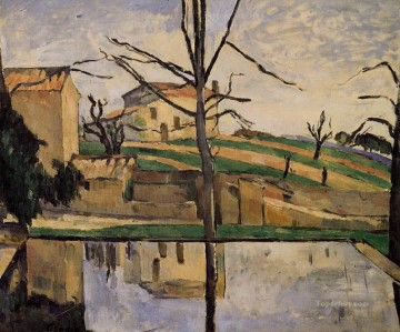 Lake Pond Waterfall Painting - The Pool at Jas de Bouffan Paul Cezanne Landscape