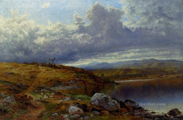 wales Art Painting - A Solitary Lake Wales landscape Benjamin Williams Leader
