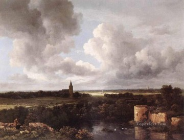 Lake Pond Waterfall Painting - An Extensive Landscape With A Ruined Castle And A Village Church Jacob Isaakszoon van Ruisdael