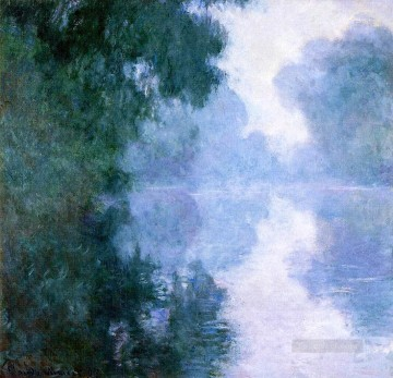 mornings on the seine monet Painting - Arm of the Seine near Giverny in the Fog II Claude Monet Landscape