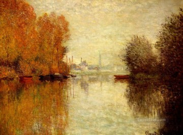 Argenteuil Canvas - Autumn on the Seine at Argenteuil Claude Monet Landscape