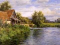 Cottage be the river landscape Louis Aston Knight