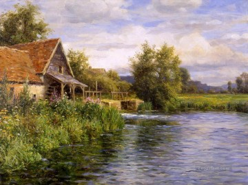 Cottage be the river landscape Louis Aston Knight Oil Paintings