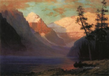 Lake Pond Waterfall Painting - Evening Glow Lake Louise Albert Bierstadt Landscape
