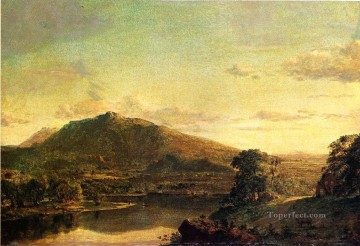 Figures in a New England Landscape scenery Hudson River Frederic Edwin Church Oil Paintings