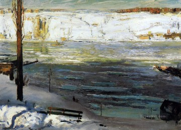 Lake Pond Waterfall Painting - Floating Ice George Wesley Bellows 1910 landscape George Wesley Bellows