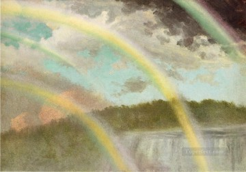 Lake Pond Waterfall Painting - Four Rainbows over Niagara Falls Albert Bierstadt Landscape