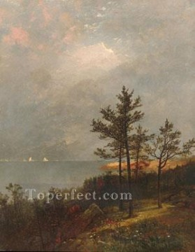 Lake Pond Waterfall Painting - Gathering Storm On Long Island Sound scenery John Frederick Kensett Landscape