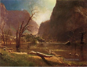 Lake Pond Waterfall Painting - Hatch Hatchy Valley Califrnia Albert Bierstadt Landscape