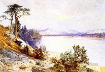 Lake Pond Waterfall Painting - Head of the Yellowstone River landscape Thomas Moran