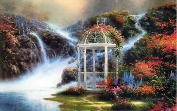 Lake Pond Waterfall Painting - Hidden Arbor Thomas Kinkade Landscape