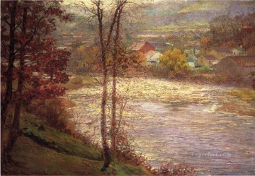 Indiana Oil Painting - Morning on the Whitewater Brookille Indiana landscape John Ottis Adams