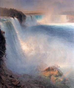 Lake Pond Waterfall Painting - Niagara Falls from the American Side scenery Hudson River Frederic Edwin Church Landscape
