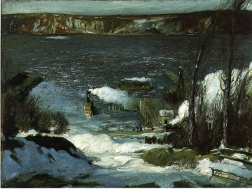 Lake Pond Waterfall Painting - North River landscape George Wesley Bellows