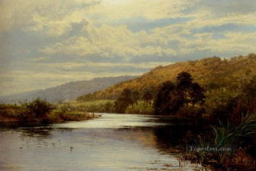 Lake Pond Waterfall Painting - On The Thames2 landscape Benjamin Williams Leader