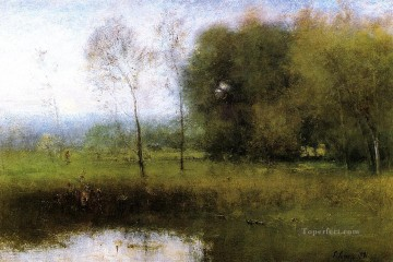 Lake Pond Waterfall Painting - Summer Montclair aka New Jersey Landscape landscape Tonalist George Inness