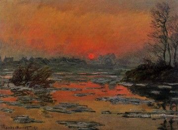 Lake Pond Waterfall Painting - Sunset on the Seine in Winter Claude Monet Landscape